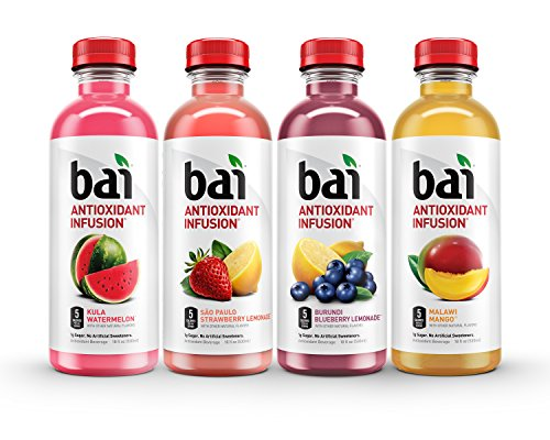 Bai Flavored Water, Oasis Variety Pack, Antioxidant Infused, 18 Fluid Ounce Bottles, 12 count, 3 each of Burundi Blueberry Lemonade, Sao Paulo Strawberry Lemonade, Kula Watermelon, Malawi Mango