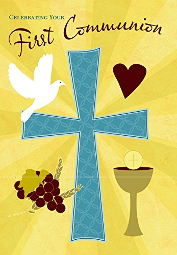 Celebrating Your First Communion Cross 5 x 7 Inch Greeting Cards with Envelopes Set of 5 ()