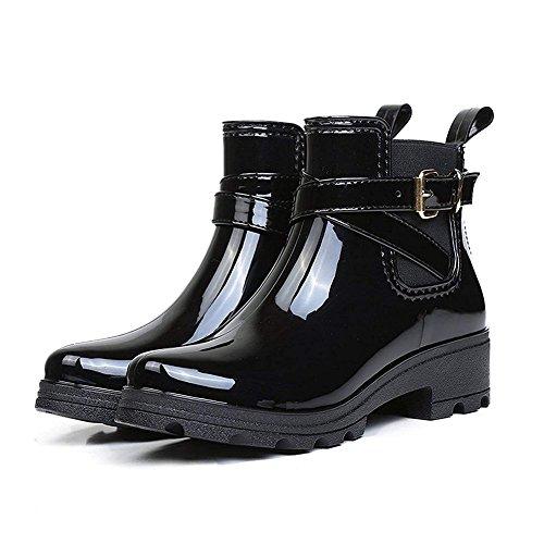 Holyami Fashion Short Rain Boots for Women-Waterproof Non-Slip Black Ankel Rubber Chelsea Rain Booties Shoes