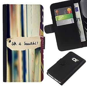 KLONGSHOP // Tirón de la caja Cartera de cuero con ranuras para tarjetas - La vida es hermosa la lectura de libros de texto - Samsung Galaxy S6 EDGE //