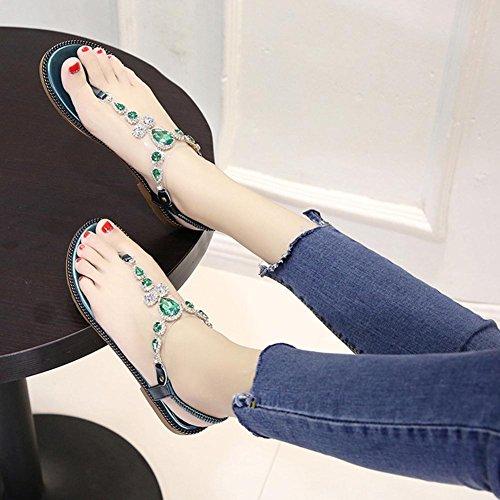 Diamantes de imitación voltear sandalias planas con estudiantes sandalias planas Green