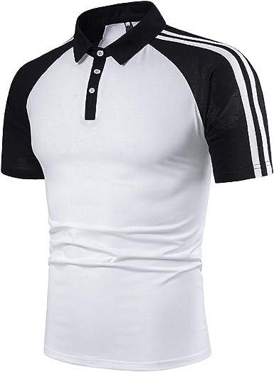 ESAILQ Camisa de Rayas Manga Corta, Color Sólido Slim Fit, Camisa Elástica Casual/Formal para Hombre: Amazon.es: Ropa y accesorios