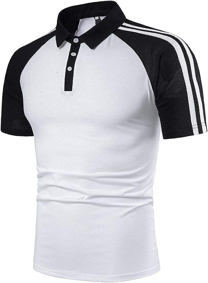 Gusspower Polos Camisas de Rayas Hombre de Manga Corta Casual ...