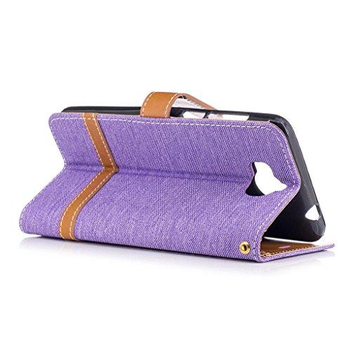 Trumpshop Smartphone Carcasa Funda Protección para Huawei Y5 (2017) [Negro] Estilo Vaquero PU Cuero Caja Protector Billetera [No compatible con Huawei Y5] Púrpura