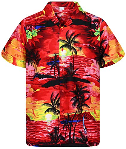 Funky Hawaiian Shirt, Surf, red, XL