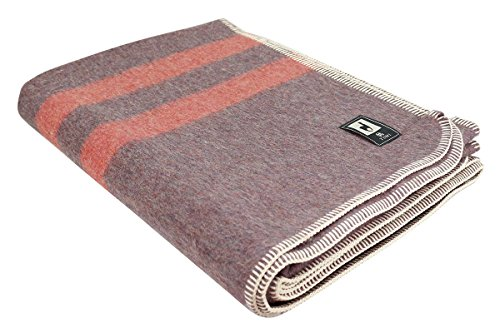 Putuco Thick Alpaca Wool Blanket (Twin, Gray - Salmon Stripes) - Salmon Stripe
