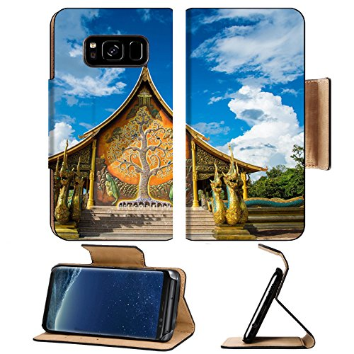 Luxlady Premium Samsung Galaxy S8 Plus S8+ Flip Pu Leather Wallet Case IMAGE ID: 34805857 Buddhist temple in the Northeast of (Northeast Hobby)