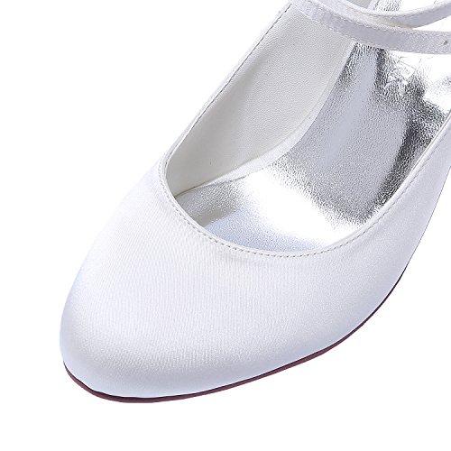 Elegantpark HC1808 Femme Bout fermé Traverser la Cheville Talon Haut Bloc Escarpins Boucle Satin Chaussures de Mariée de Mariage Blanc Ir3IF5aUGv
