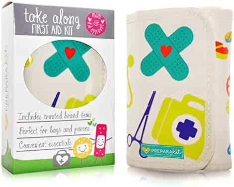 Small Travel First Aid Kit - Mom's Compact Emergency Essentials For Home, Car, Backpack, Hiking, Purse, Diaper Bag, Sports & Baby Shower Gift, Latex-Free Supplies (Kid Joy)