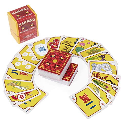 Chinese Mahjong Playing Cards - 144-Card Deck for Traditional Game Play, Includes Rules and Storage Box by Brybelly