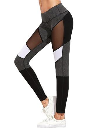 Minetom Femme Sexy Legging Pantalon de Sport Athlétiques Gym Pilates Gaine  Fitness Patchwork Skinny Jogger Yoga 0d1de7cd5f9