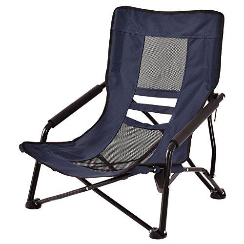 Portable Outdoor High-Back Folding Beach Camping Chair Furniture Mesh Seat Navy Blue #667 (Bunnings Furniture Australia Outdoor)