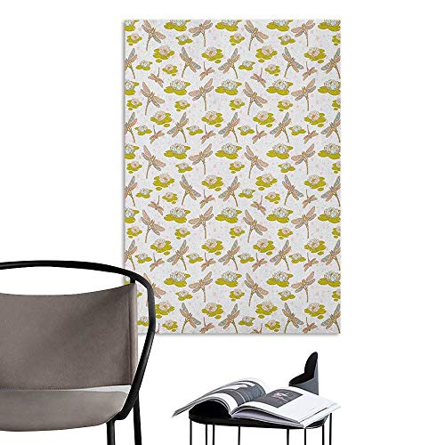 Camerofn Wall Paintings self-Adhesive Dragonfly River Side Flowers Loddon Lilies Leaves with Mosaic Pattern Like Wings Image Multicolor Large Removable Decals W20 x H28