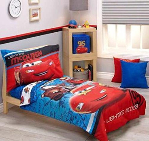 Disney Cars Team Lightening 4-Piece Toddler Bedding Set (Disney Cars Crib Bedding)
