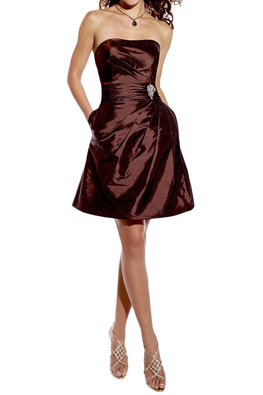 Prom Style Anstaendig Schokolade Bandeau Taft Chiffon Partykleider ...