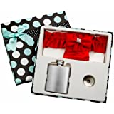 3oz Red Garter Belt Hip Flask with Gift Box for Weddings, Free Engraving!