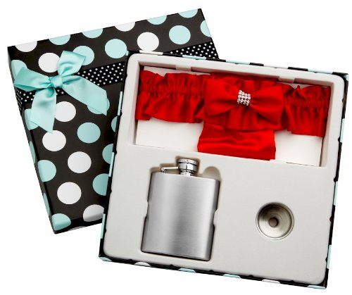 (3oz Red Garter Belt Hip Flask with Gift Box for Weddings, Free)
