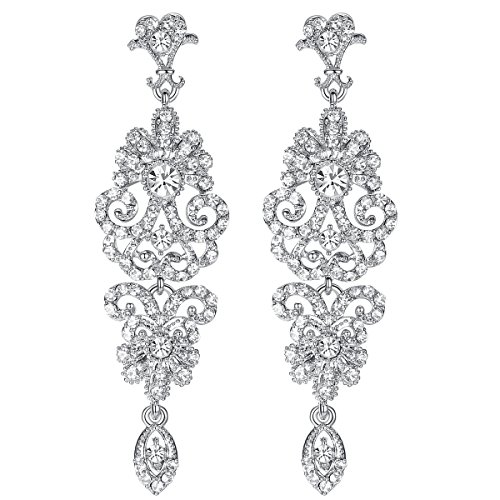 mecresh Silver Vintage Style Wedding Crystal Rhinestone Cluster Chandelier Hollow Dangle Earrings