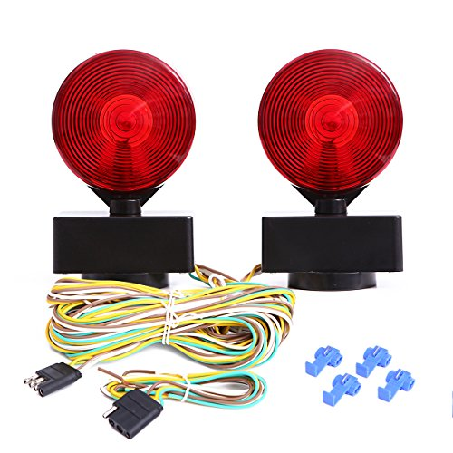 (CZC AUTO 12V Two Sided Magnetic Towing Light Kit for Trailer RV Boat Truck -Magnetic Strength 55 Pounds)