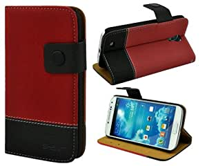 Shenit Samsung Galaxy S4 Leather Case Wallet Flip Cover Dual Tone Folio with Credit Business Card Holder - Red
