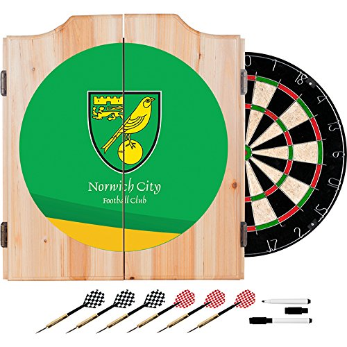 Premier League Norwich City Football (Soccer) Club Design Deluxe Solid Wood Cabinet Complete Dart Set by TMG