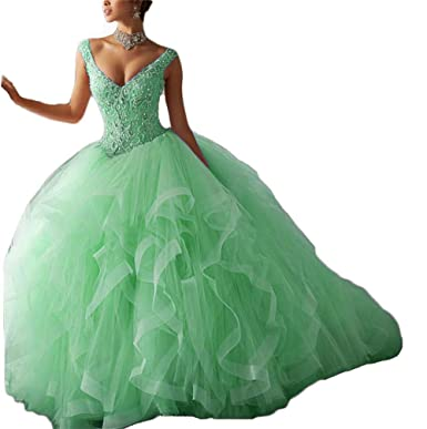 9d69bda6819 Dydsz Women s Quinceanera Dresses Aqua Prom Party Ball Gown Beaded V Neck  2019 D72 Aqua 2