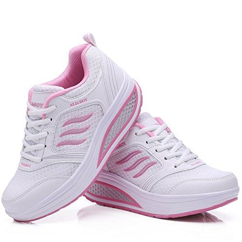 Balançoire Sport Sneakers Fitness Casual Respirantes Marcher Chaussures Chaussure Mode Course Compensées Blanc Basses wtvqZF16xX