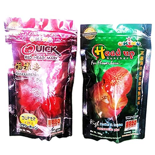 - Set Of 2 Quick Red Mark , Head Up Huncher Cichlid Flowerhorn Fish Food 3.5 oz (100g)