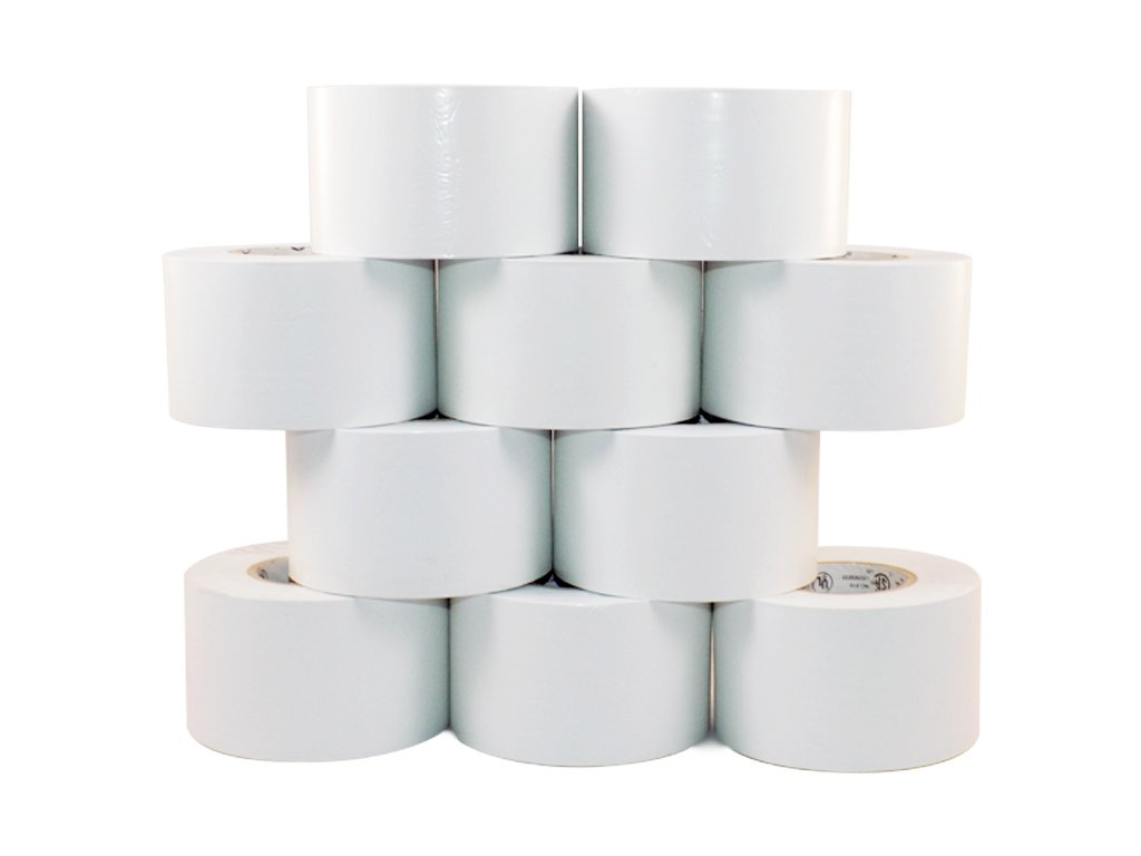 T.R.U. EL-766AW White General Purpose Electrical Tape 2'' Width x 66' Length UL/CSA listed core. Utility Vinyl Electrical Tape (Pack of 10).
