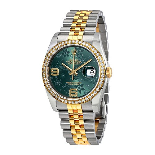 Rolex Oyster Perpetual Datejust 36 Green Floral Dial Stainless Steel and 18K Yellow Gold Rolex Jubilee Automatic Ladies Watch 116243GRFAJ