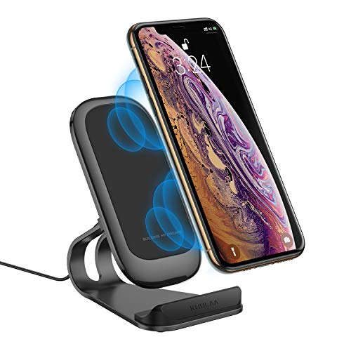 Wireless Charger Stand,Qi-Certified Metal Frame Dual Coils Charging Station Fast 10W Charging for Samsung S10/ S9/ S9+/ S8/ S8+/ S7,7.5W Compatible with iPhone Xs/XR/XS Max/8/8 Plus(Black) (Frames Wireless)