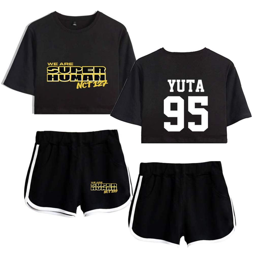 Kpop NCT Ensembles Shorts et Haut WE are Super Human V/êtements de Sport Ensembles Sportswear T-Shirt Short Deux Pi/èces Femme Ensemble Sportswear Shorts Tops /à Manches Courtes