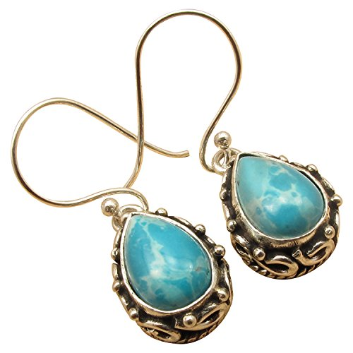 (925 Silver Overlay Antique Tibetan Style Earrings ! Many Natural Gemstones Options ! Oxidized Jewelry)