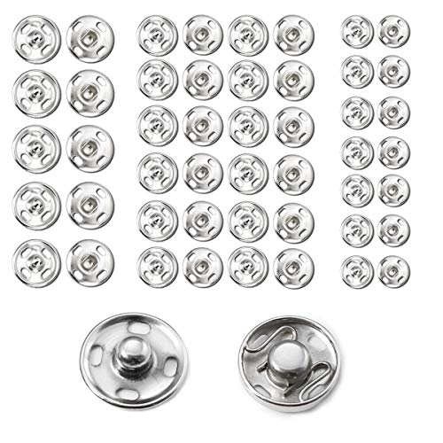 Beadnova Sew on Snaps MetalPress Buttons Snap Fasteners for Clothing (106 Sets, 3 Sizes) (Snap 7mm)