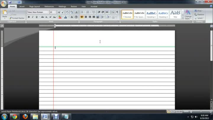 microsoft word lined paper