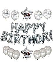 مجموعة بالونات لتزيين حفلات اعياد الميلاد باللون الفضي، مع لافتة بالو بعبارة عيد ميلاد سعيد مقاس 16 بوصة، 2725610182776
