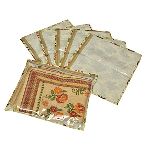 Kuber Industries™ Single Packing Saree Cover Set of 6 Pcs in Imported Waterproof Material  Brown   Code KST07