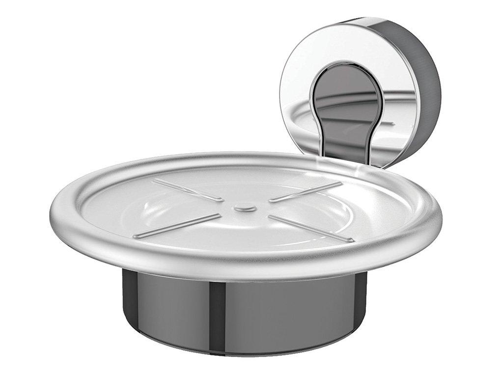 Bathroom Furniture Furniture Bisk Ventura Glass Shelf-Chrome and Grey on Zinc-45.8x5x12.7cm # 05321