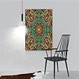 Philiphome Canvas Art Wall Decor Pattern With Style Islamic Arabesque Motifs Orienta Ethnic Design Red Green Blue for Home Decoration(16''x24'')