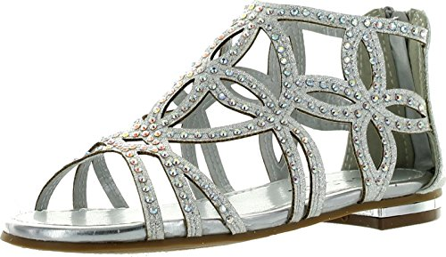 Tory63 Kids Silver Bling Rhinestone Four-leaf Clover Cut Out Strap Gladiator Dress Sandal Shoes-4