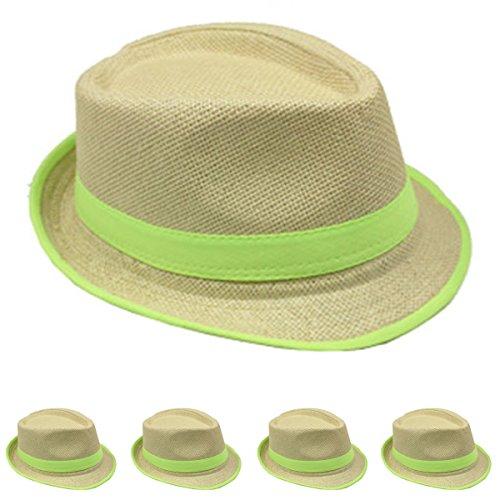 Straw Fedora Hat w/Band & Rim LINE Stylish Trilby Gangster Panama Classic Vintage Headwear (Lime) ()