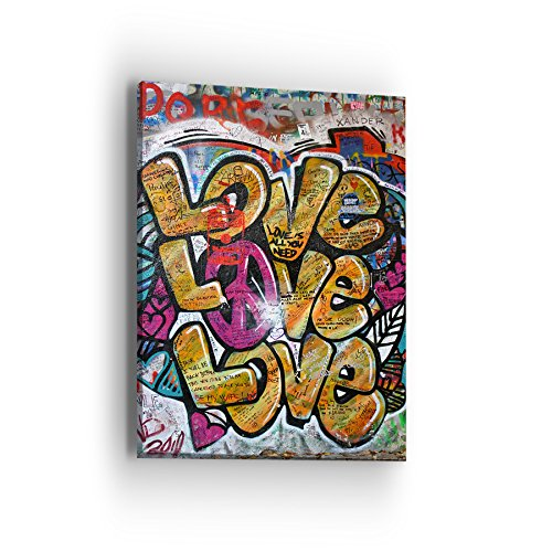 Loves Peace Sign Canvas Wall Art - Street Art Graffiti Series