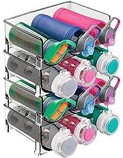 mDesign - Flessenrek in 2-delige set - houder voor waterflessen - voor maximaal 3 flessen - ook te gebruiken als wijnrek - smoke grijze tint