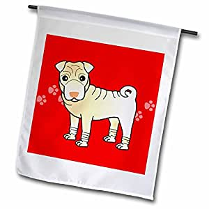 Janna Salak Designs Dogs - Cute Chinese Shar Pei Cream - Red Paw Prints - 18 x 27 inch Garden Flag (fl_47594_2)