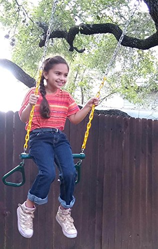 """Jungle Gym Kingdom Trapeze Swing Bar with Rings 48"""" Heavy Duty Chain Swing Set Accessories & Locking Carabiners - Green"""