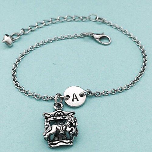 Carousel Bracelet (Carousel charm bracelet, carousel charm, adjustable bracelet, amusement park ride, personalized bracelet, initial bracelet, monogram)