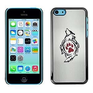 For Apple iPhone 5C Case , Paw Art Drawing Tattoo Red - Diseño Patrón Teléfono Caso Cubierta Case Bumper Duro Protección Case Cover Funda