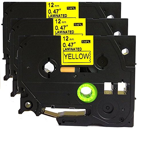 3PK Black on Yellow Label Tape Compatible for Brother TZ TZe 631 TZ-631 TZe-631 12mm P-Touch 8m ACD.auto