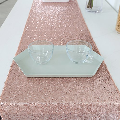 Rose Gold Sequin Table Runner, Sparkly Table Runner for Wedding - 12x120inch
