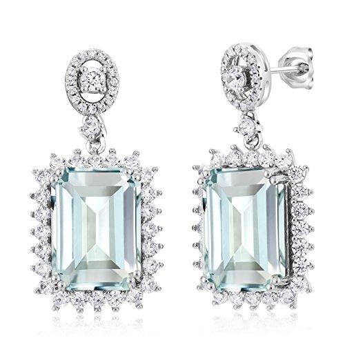 (925 Sterling Silver Sky Blue Simulated Aquamarine Women's Dangle Earrings 13.88 Ctw)
